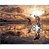 shukqueen DIY Ölgemälde, Erwachsene 's Malen nach Zahlen Kits, Acryl Gemälde Jagen die Sunset 40,6x 50,8cm, Frameless,Just Canvas