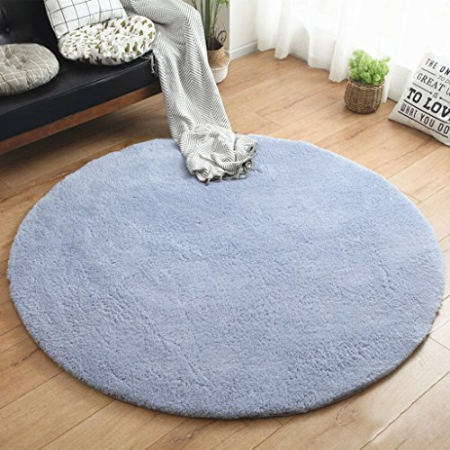 ZHEN GUO SHOP Minimalistische Plain Round Bereich Teppich Schlafzimmer Wohnzimmer Shaggy Teppich Soft Shag Teppich Wohnzimmer (Farbe : Blau, größe : Diameter 100cm) - Blaue Shag Teppich