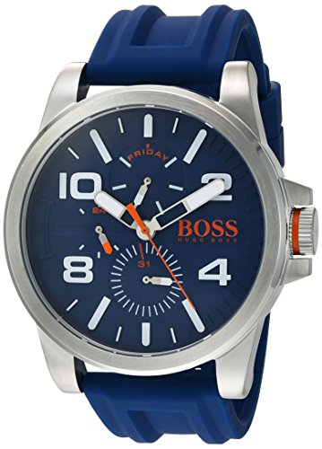 Movado Group Inc - dba Hugo Boss Men's 'DETROIT SPORT' Quartz Stainless Steel and Silicone Casual Watch, Color:Blue (Model: 1550008)
