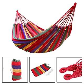 Hängematte | Sommer Outdoor & Indoor | Aus Buntem Leinenstoff | Balkon, Garten, Camping Ultraleicht | 200 x 150 cm, 200 kg Belastbarkeit | Rot