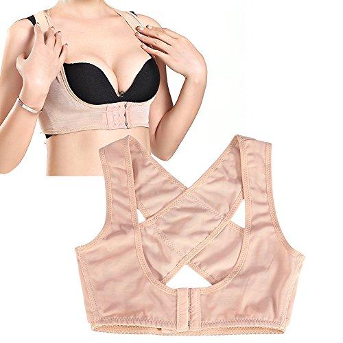 Damen Einstellbare Push Up Stütz Geradehalter für Buckel rücken geradehalter Haltungskorrektur Haltungsbandage BH Büstenhebe Brust Unterstützung Gürtel(S-Hautfarbe) -