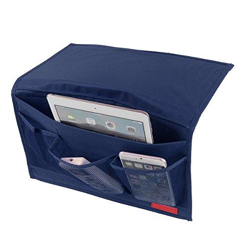 bedside-caddy-4-pocket-dorm-room-bedside-storage-mattress-book-tv-remote-ipad-iphone-mobile-magazine