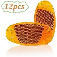 WENTS Luces Reflectantes de Advertencia Reflectantes para Rueda de Bicicleta Adultos Reflector radios Reflectores Reflex para Radios de Rueda Bicicleta Naranja 12pcs