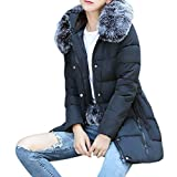 UFACE Damen Winter Parka Warmer Mantel Solide Pelzkragen Kapuzenjacke Long Dicker Dünner Winter Parka Mantel (Schwarz-426, M)