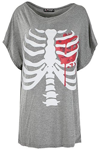 Be Jealous Damen Lagenlook Halloween Skelett Herz Fledermausärmel überdimensional Baggy T-Shirt Top UK Übergröße 8-22 - grau, Plus Size (UK 16/18) (Plus Size-halloween-t-shirts)