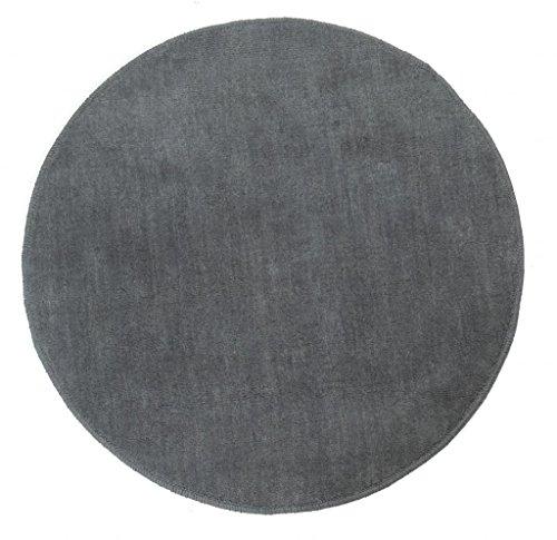 Homescapes Dekorativer Kurzflor Teppich rund grau - 150 cm