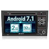 Pumpkin Android 7.1 Autoradio DVD Player für Audi A4 mit Navi 32GB + 2GB Unterstützt Bluetooth DAB+ Android Auto WLAN USB CD MicroSD 7 Zoll Bildschrim 2 Din