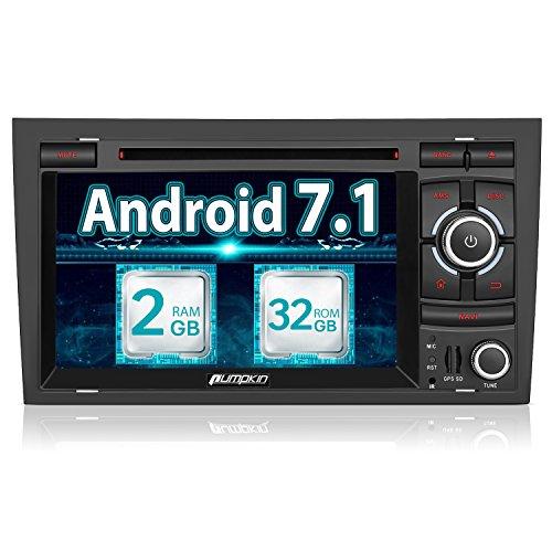 Pumpkin Android 7.1 Autoradio DVD Player für Audi A4 32GB + 2GB mit Navi und Bildschirm Unterstützt Bluetooth DAB+ Fastboot WLAN Subwoofer USB CD MicroSD 7 Zoll 2 Din