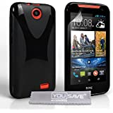 Yousave Accessories HTC Desire 310 Hülle X-Linie Silikon Gel Schutzhülle schwarz