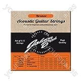 Johnny Brook - Lot de 6 Cordes de Guitare Acoustique Haute Qualité en Bronze (Tirant Custom Light)
