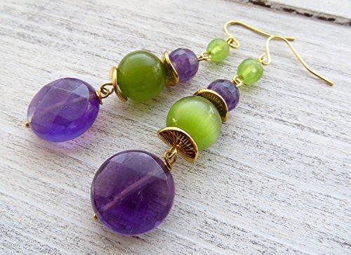 Orecchini con ametista viola e quarzo verde, pendenti con pietre naturali, gioielli moda, bijoux artigianali, accessori donna