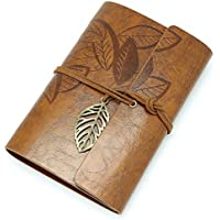 Vintage Rosso Marrone in pelle sintetica Foglie Blank Notebook Diario regalo 5.19*3.35inch / 13.2*8.5cm(Length*width) Brown