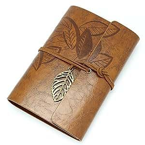 RowShan® Vintage stile foglia foglie Pattern PU copertura stringa fogli volanti taccuino vuoto rilegato Notepad Travel Journal diario Jotter Marrone