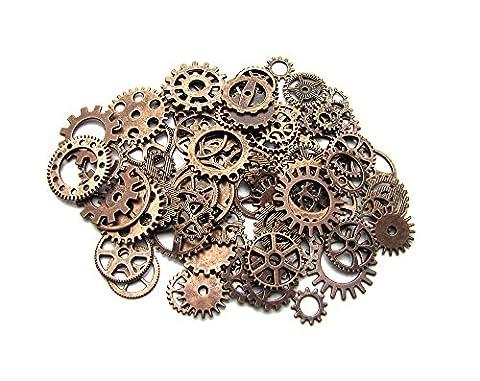 Mangotree 100 Gramm Antike Steampunk Getriebe Zahnräder Charms Uhr Räder für Basteln Cosplay Halloween Dekoration (Kupfer)