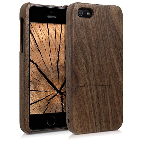 Apple Iphone 5 Shell (kwmobile Apple iPhone SE / 5 / 5S Hülle - Handy Schutzhülle aus Holz - Cover Case Handyhülle für Apple iPhone SE / 5 / 5S)
