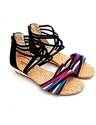 WANGXN Womens Sandalias Color de la Lucha Correa de Cruz Después de Zipper Flat Breathable , 38