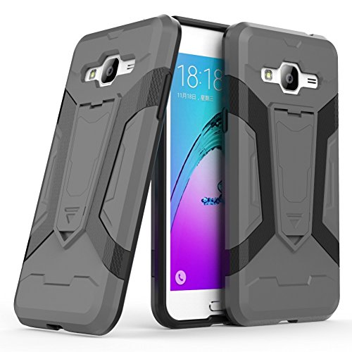 iPhone SE Coque DWaybox Iron Man 2 Series 2in1 Combo Hybrid Armor Hard Phone Back Housse Coque avec Kickstand pour Apple iPhone SE / 5S / 5G 4.0 Inch (Black) Gray
