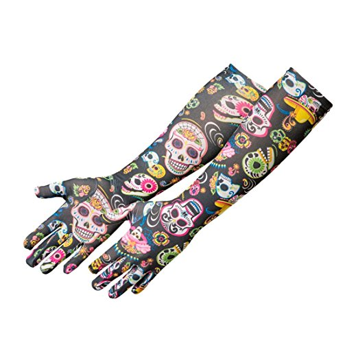 NET TOYS Totenkopf Handschuhe Sugar Skull Damenhandschuhe La Catrina Fingerhandschuhe Dia de los Muertos Accessoire Kostümzubehör Mexikanisches Totenfest Gothic Fashion Halloween