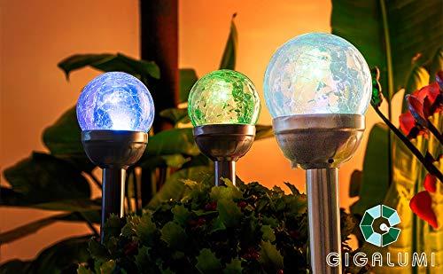 GIGALUMI Solarleuchte Gartenleuchte LED 3er Glaskugel Set mit Erdspieß Farbwechsel Edelstahl Wasserdicht für Außen, Garten, Balkon, Terrasse, Rasen, Wege