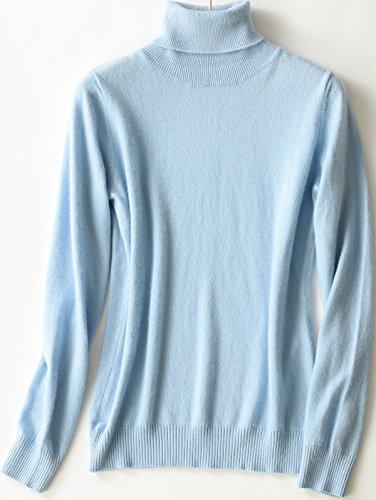 LongMing Damen 100% Kaschmir Pullover for Winter lange Ärmel Hoher Hals und Figur Schmeichelnde Casual Swaeter Himmel blau