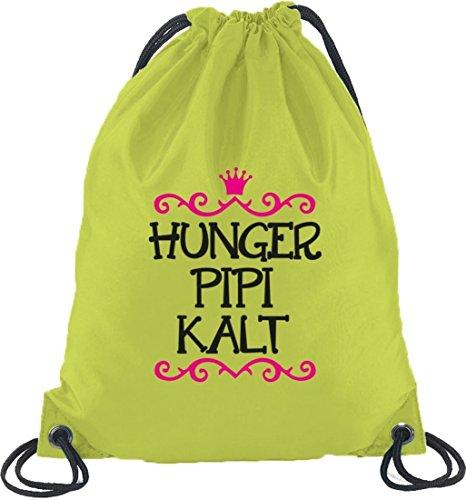 Shirtstreet24, Hunger Pipi Kalt, Prinzessin Turnbeutel Rucksack Sport Beutel Limone