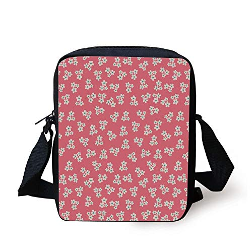 Country Home,Cute Little Daisies Bouquets Girls Bedroom Decor Freshness Pink Backdrop,Teal Pink White Print Kids Crossbody Messenger Bag Purse -