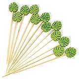 PuTwo Brochetas Bambu 100 Piezas Palillos de Dientes 12 cm Brochetas Cóctel para Aperitivo para Fiesta de Cóctel - Hoja Verde