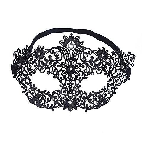 EQLEF® Luxury venezianischen Stil Metal Ball Maske weiße Rhinestone für Masquerade Halloween Cosplay ()