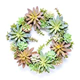 Best Nearly Natural Indoor Plants - DECORATIVE WREATH WITH STUNNING FAUX SUCCULENT PLANTS Review