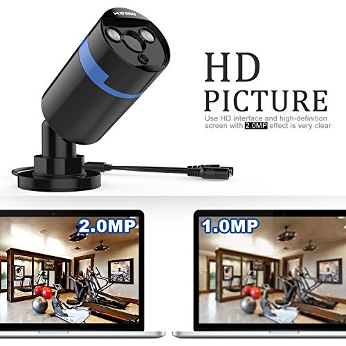 H.View 8 Channels 1080P CCTV Camera Systems with 1TB Hard Drive Installed, 4* 1920x1080P Outdoor Security Cameras, 8 Channel Digital Video Recorder Home Security System Support Android,iPhone Remote Viewing Night Vision up to 30M