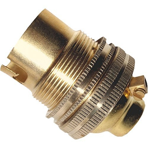 B22 Solid Brass Earthed Lamp Bulb Holder with 10mm Threaded Entry