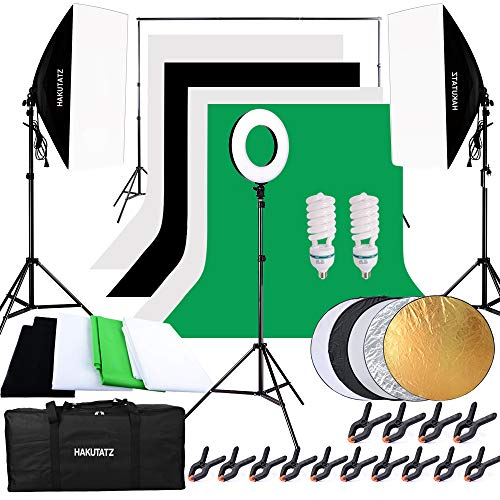 Hakutatz Profi Fotostudio Set Studioleuchte Studiosets Hintergrundsystem Lampenstativ Softbox Fotografie mit Schutztasche (IV)
