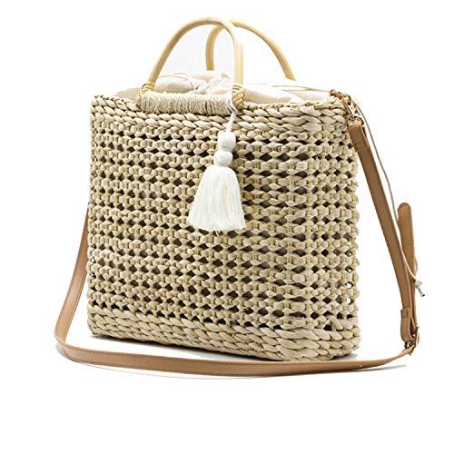 Kate Spade-strand-tasche (LIAN Store Damen Handtasche mit Fransen, geflochten, Holzgriff, naturfarben, Beige - beige - Größe: Einheitsgröße)