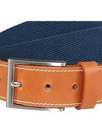 LINDENMANN Mens Textile Belt / Mens Belt, elastic textile belt with gift box, navy