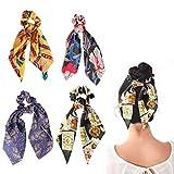 Scrunchies della sciarpa, fiocco in raso di seta vintage da donna, cinturino elastico per capelli morbido ed elegante 2 in 1 accessori per capelli con coda di cavallo (4 pezzi)