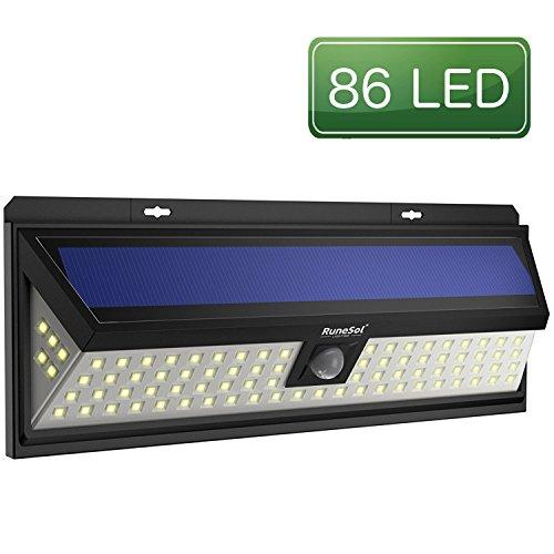 Luces 86 LED Runesol® con sensor   Lámpara Solares Con 86 Luces LED   Luz LED Solares con Focos Para Iluminar Exteriores, Patios, Cercas, Jardin, Entradas   Panel De Seguridad LED   Luz Solar