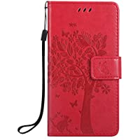 Samsung Galaxy J5 Prime Case, Samsung Galaxy J5 Prime Wallet Case, BONROY [Kickstand] Retro Flip Case, Elegant Vintage Pressed Tree Cat Butterfly Pattern Design Premium PU Leather [with Lanyard Strap/Rope] Stand Function Card Holder and ID Slot Slim Fit Protective Case Cover for Samsung Galaxy J5 Prime - Red