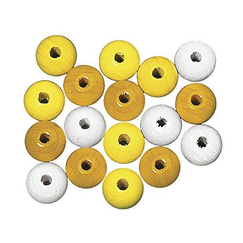 Rayher 1228500 Holzperlen, poliert, 12 mm ø, SB-Btl. 32 Stück, Gelb-Töne - wurde ersetzt durch: 1254700 - Würfel 12mm Gelb In