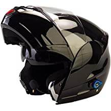Viper RSV-131 - Casco con visera frontal abatible para motocicleta, con Bluetooth 3.0 - Color negro brillante