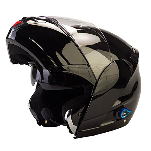Viper Rsv-131Bluetooth 3.0Rabat avant Couvercle casque de moto–Noir brillant