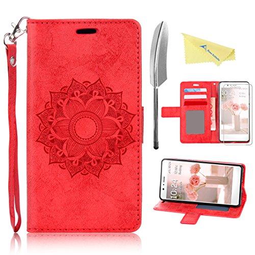 Rosa Schleife Huawei P8 Lite Hülle Rot, Premium PU Leder Tasche Flip Cover Totem Blume Entwurfe im Bookstyle und Trageschlaufe mit Magnet Kartenfächer Standfunktion Handyhülle(5.0 Zoll)