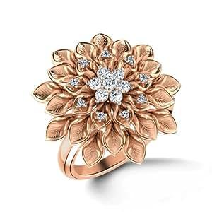 CaratLane 18K Rose Gold and Diamond Ring