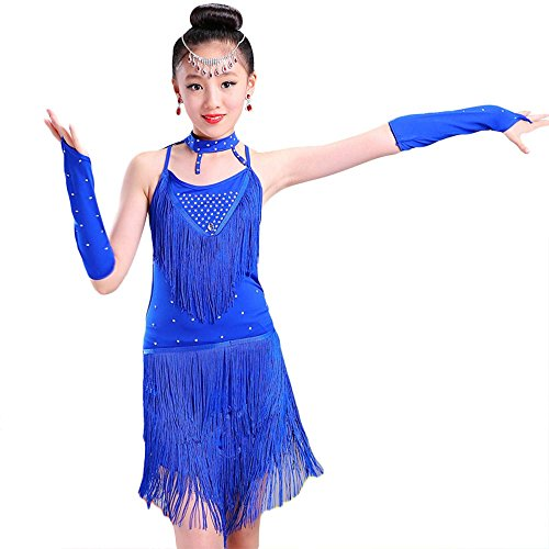 G-like Kinder Mädchen Latein Tanzkleid - Moderne Latin Tänze Walzer Tango Salsa Swingtanz Praxis Training Party Wettbewerb Kostüm Tanzrock Trikot Bekleidung Quasten Pailletten (Blau, (Tanz Kostüm Latein Wettbewerbe)