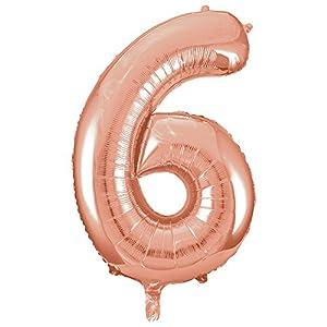 Unique Party- Globo gigante número 6, Color oro rosa, 86 cm (55876)