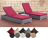 CLP 2X Polyrattan Sonnenliege NADI inkl. Tisch I 2X Wellnessliege mit Verstellbarer Rückenlehne I in Verschiedenen Farben erhältlich rubinrot, Grau