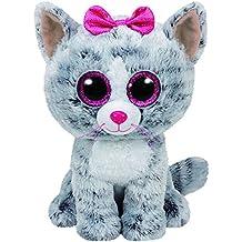 Grandes y preciosos ojos brillantes. TY - Beanie Boos Kiki, peluche gatita, 15 cm, color gris (United