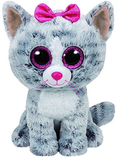 TY - Beanie Boos Kiki, peluche gatita, 15 cm, color gris (United Labels Ibérica 37190TY)