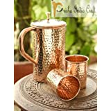 Prisha India Craft ® Best Quality Pure Copper Jug ( Hammered Jug 1650 ML / 55.80 Oz ) With Two Glass Drinkware Set Of Jug And Glass - Copper Jug Glass Set - Tumbler Set - DIWALI Gift