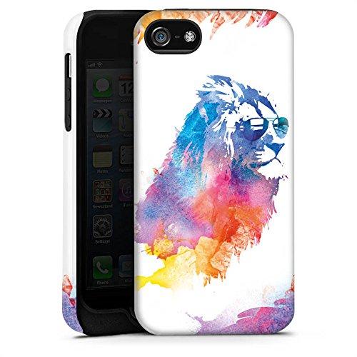 Apple iPhone 5s Housse Étui Protection Coque Lion Peinture à l'eau couleurs Cas Tough terne