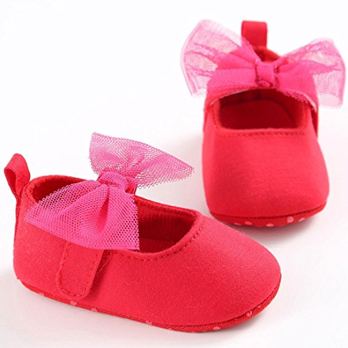 Chaussures de bébé,Transer ® Fille doux berceau unique de Bowkhot Toddler premières chaussures de marche Rouge